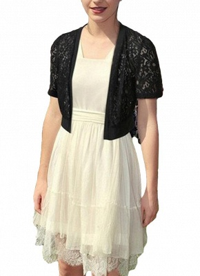 Women Lace Cardigan Open Front Casual Office Beach Top Short Outerwear_4