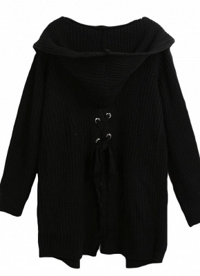 Women Hooded Knitted Cardigan Lace Up Split Long Sleeves Sweater_6
