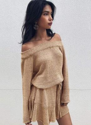 Shoulder Elegant Ruffle Sash Long Sleeve Women's Sweater Dress_1