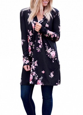 Fashion Long Cardigan Front Floral Print Long Sleeves Women's Outerwear_11