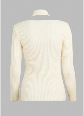 Women Solid Knitted Sweater Rib Pullover Jumper Halter Neck Long Sleeve Twist Slim Knitwear Top_4