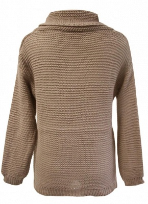 Women Loose High-Neck Long Sleeve Solid Warm Turtleneck Knitted Sweater_5