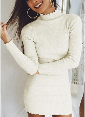 Slim Bodycon Dress High Neck Long Sleeve Knitted Elastic Sweater Party Night Dress_1