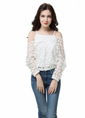 Chic Crochet Lace V-Neck Long Sleeve White Blouse with Vest_9
