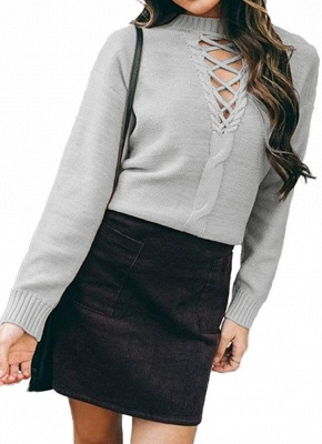 Knitted Hollow Out Pull Over Lace Up Dropped Shoulder Long Sleeve Sweater_3
