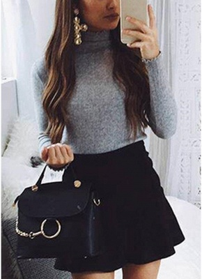 Slim Bodycon Dress High Neck Long Sleeve Knitted Elastic Sweater Party Night Dress_5