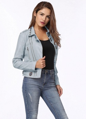 Fashion Hollow Out Leather Slim Hole Short Coat Women's Jacket_2
