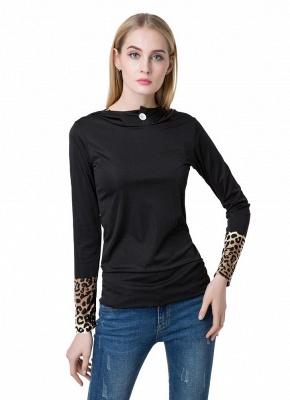 Fashion Leopard Button Hooded Neck Long Sleeve Black Sweatshirt_4