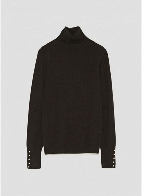 size Chic Women Knitted T-Shirt Pearl Beads Long Sleeve Turtleneck Basic Shirt Stretchy Tees Slim Tops_5