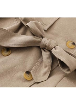 Women Winter Lined Turn-down Collar Double-breasted Button Closure Windbreaker Coat_7