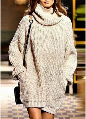 Winter Women Warm Oversize Turtleneck Sweater Long Sleeve Pockets Casual Rib Knitted Mini Dress_1