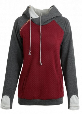 Fashion Women Hoodie Sweatshirts Contrast Color Long Sleeve Drawstring Casual Warm Pullover Hooded Tops_7