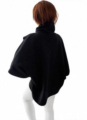 Loose Sweatshirt Solid Turtleneck Irregular Three Quarter Casual Warm Pullover_4