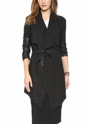 Autumn Winter Women Jacket Coat Large Lapel PU Leather Splice Overcoat Long Sleeve Casual Outerwear Black_1