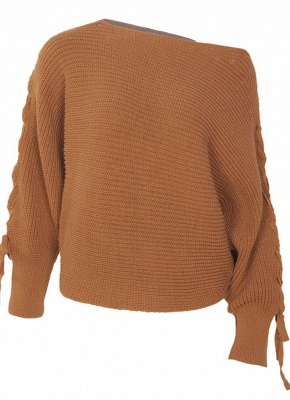 Knitted Sweater Long Sleeves Boat Neck Loose Jumper Bottoming Sweater Top_5