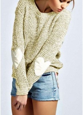 Women Loose Knitted Sweater Elbow Heart Patch Solid Long Sleeve Knit Pullover_3