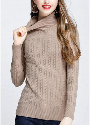 Fashion Women Twisted Turtleneck Long Sleeve Knitted Sweater_5