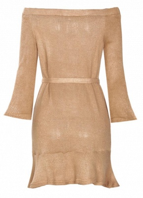 Shoulder Elegant Ruffle Sash Long Sleeve Women's Sweater Dress_8