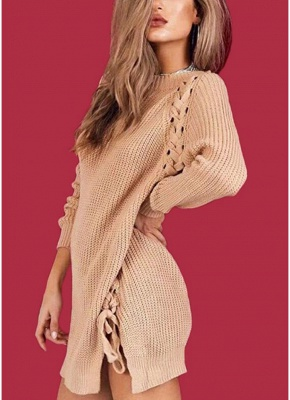 Sexy Winter Women Lace Up Knit Sweater O Neck Long Sleeve Split Knitted Pullover Jumper Knitwear_2