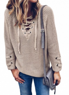 Neck Striped Bandage Cross Ties Knitted Sweater_3