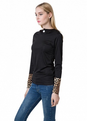 Fashion Leopard Button Hooded Neck Long Sleeve Black Sweatshirt_5