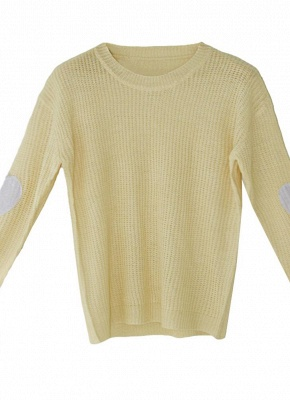 Women Loose Knitted Sweater Elbow Heart Patch Solid Long Sleeve Knit Pullover_6
