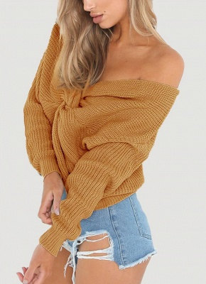 Women Loose Knitted Pullovers V Neck Back Bow Long Sleeves Dropped Shoulder Cross Casual Knit Jumper Top_1