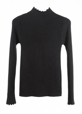 Fashion Women Turtleneck Long Sleeve Ruffled Knitting Sweater_13