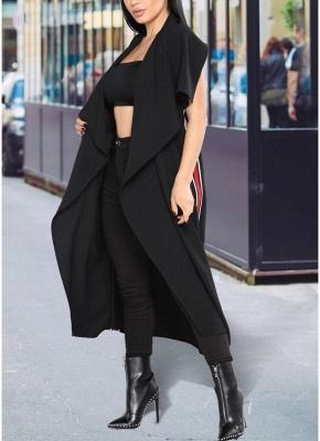 Women Coat Outerwear Striped Belt Sleeveless Turn-Down Collar Open Front Casual Long Overcoat_4