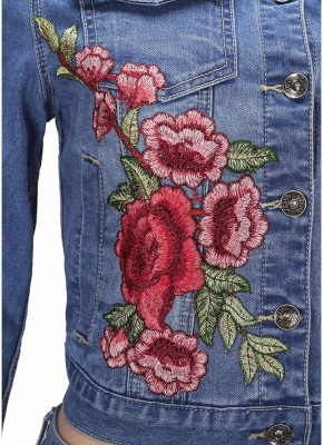 Embroidered Flower Turn-Down Collar Long Sleeve Denim Jacket_9