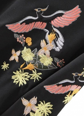 Women Sweatshirt Floral Bird Embroidery Long Sleeves O-Neck Casual Elegant Pullover Top_4