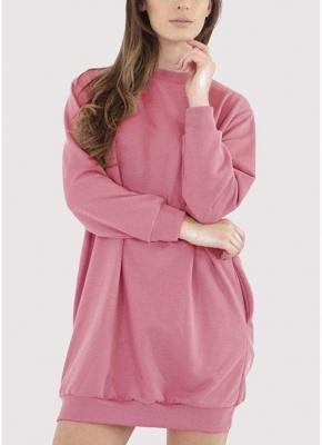Fashion Women Plain Baggy Long O Neck Pockets Jumper Long Sweatshirt_1