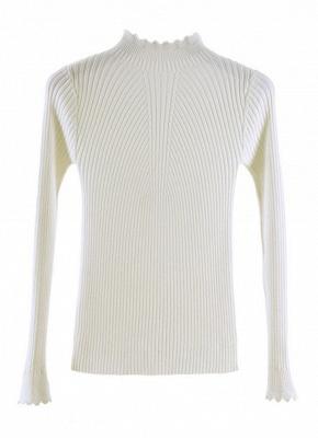 Fashion Women Turtleneck Long Sleeve Ruffled Knitting Sweater_1