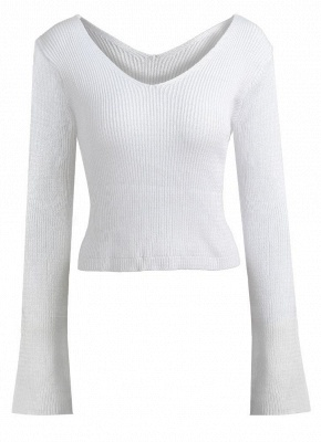 Women Sexy Off The Shoulder cropped V Neck Flare Sleeve Pullover Knitwear_1