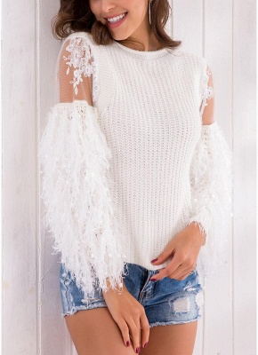Knitted Lace Fluffy Faux Fur O-Neck Long Sleeve Sweater_6