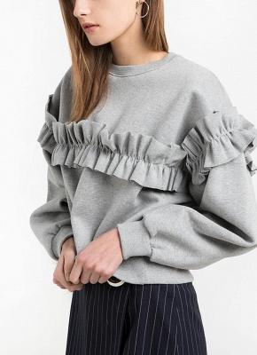 Women Loose Sweatshirt Solid Color Ruffle Round Neck Long Sleeve Casual Autumn Winter Fleece_4
