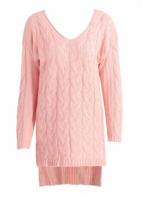 size V Neck High Low Cable Knit Sweater Dress_3