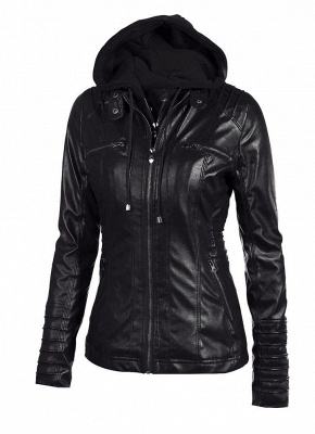 Faux Leather Hooded Zippered Short Slim Motorcycle Jacket_5