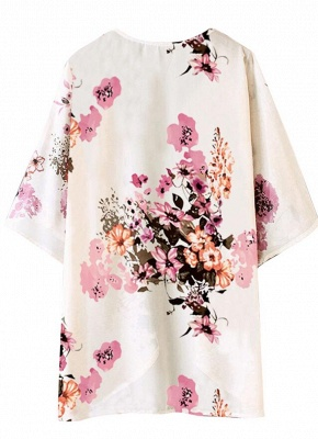 Women Chiffon Kimono Beach Cover-Up Floral Print Casual Loose Boho Cardigan Outerwear_6