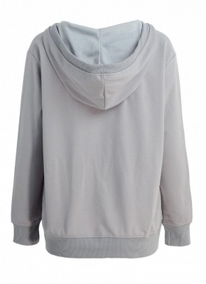 Deep V Neck Kangaroo Pocket Long Sleeve Loose Hoodies Pullover_3