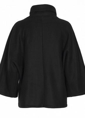 Loose Sweatshirt Solid Turtleneck Irregular Three Quarter Casual Warm Pullover_7