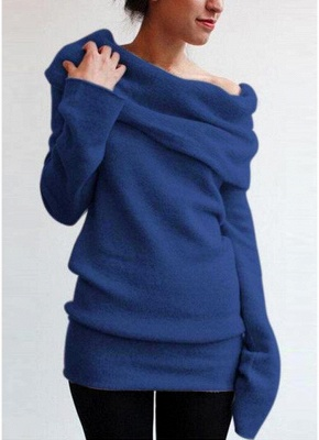 Women Off the Shoulder Sweater Wool Cowl Neck Long Sleeve Knitted Pullover_3