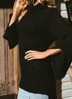 Women Long Sleeve High-Low Hem Bandage Split Jumper Pullover Knitted Sweater_4