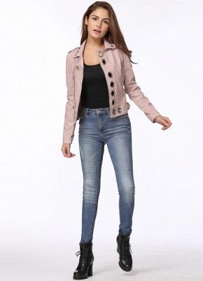 Fashion Hollow Out Leather Slim Hole Short Coat Women's Jacket_8