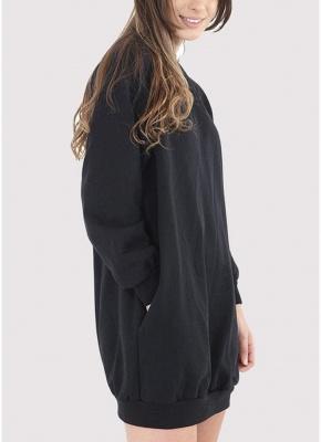 Fashion Women Plain Baggy Long O Neck Pockets Jumper Long Sweatshirt_4