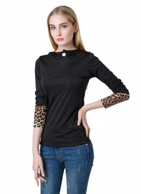 Fashion Leopard Button Hooded Neck Long Sleeve Black Sweatshirt_3