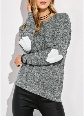 Women Loose Knitted Sweater Elbow Heart Patch Solid Long Sleeve Knit Pullover_4