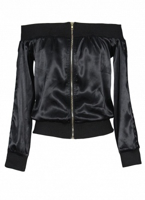 Women Off the Shoulder Satin Jacket Zipper Front Eyelet Hollow Out Coat_4