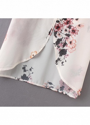 Women Chiffon Kimono Beach Cover-Up Floral Print Casual Loose Boho Cardigan Outerwear_8