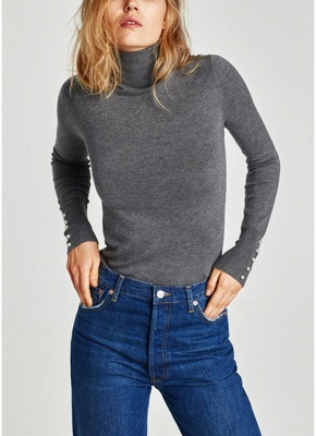 size Chic Women Knitted T-Shirt Pearl Beads Long Sleeve Turtleneck Basic Shirt Stretchy Tees Slim Tops_2